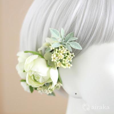 ラナンキュラスの髪飾り-ウェディングブーケと花髪飾りairaka