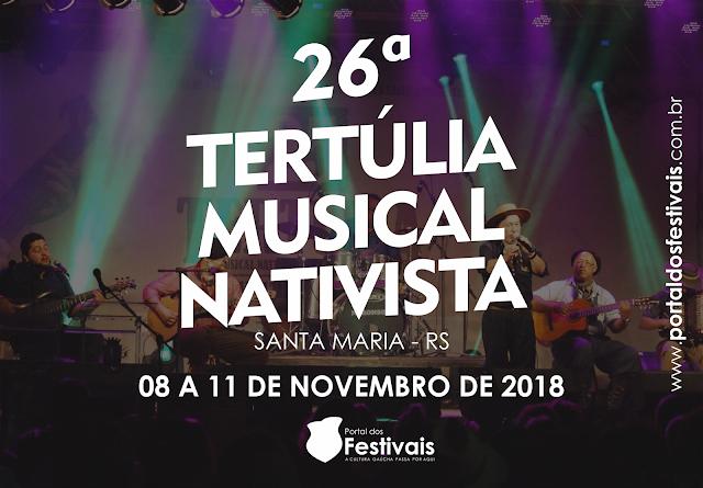 A 26ª Tertúlia Musical Nativista acontece de 08 a 11 de novembro, na AT Estância do Minuano