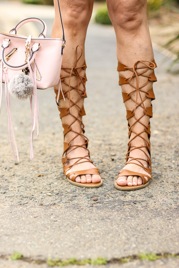 cognac gladiator sandals lace front