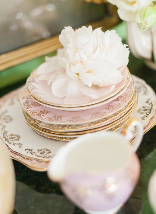 pink and gold vintage plates
