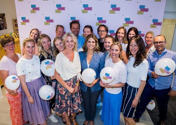 Princess Madeleine of Sweden visited office of My Special Day Foundation (Stiftelsen Min Stora Dag) in Stockholm