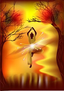 Clipart image of a female silhouette doing yoga on a fantasy background