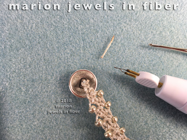 Turkish Flat Bead Crochet Bracelet Tutorial with Metallic Cord - Step 8