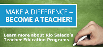 Hand writing on a chalkboard.  Text: Make a Difference-- Become a teacher!  Learn more about Rio Salado's Teacher Education Programs.