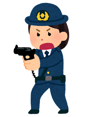 拳銃を構える警察官のイラスト(女性)