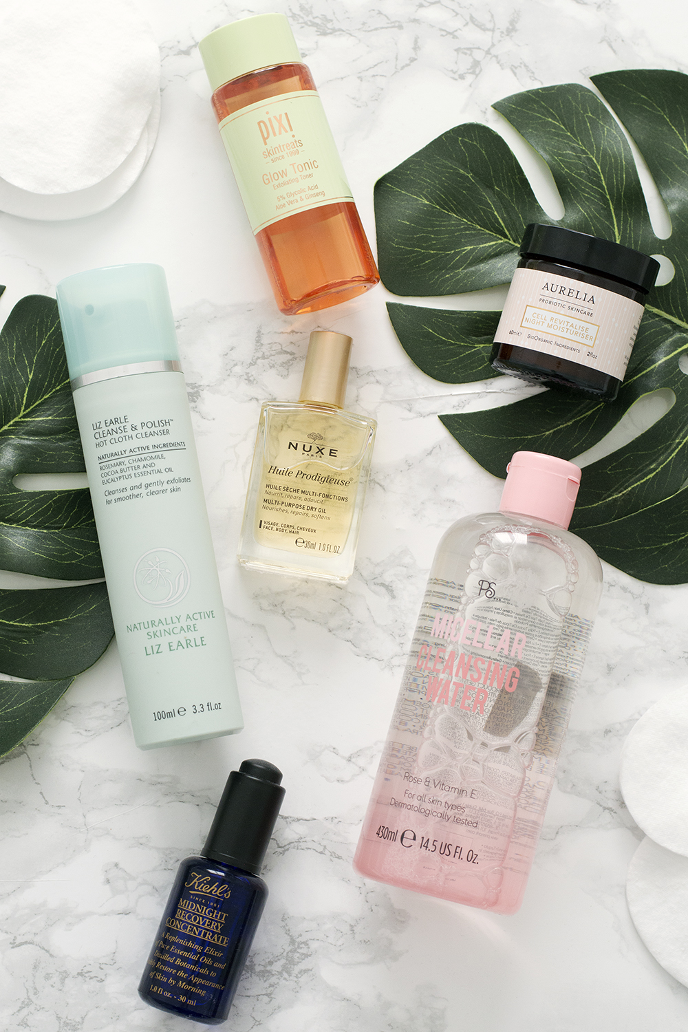 Liz Earle Cleanse and Polish. Primark Micellar cleansing water. Pixi Glow Tonic. Nuxe multi-purpose dry oil. Midnight Recovery Concentrate. Aurelia Cell Revitalise Nigh Moisturiser.