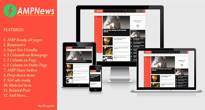 AMPNews Amp free responsive blogger template