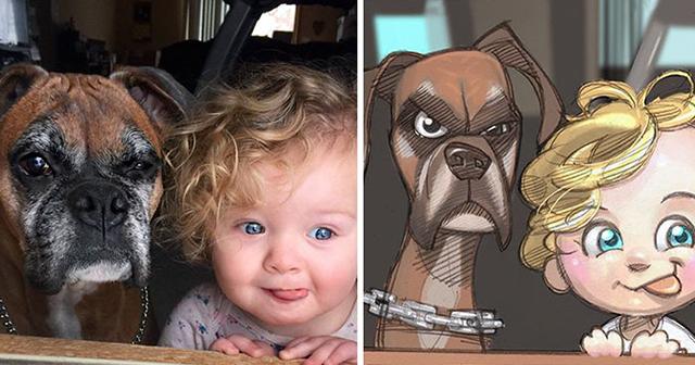 Artista convierte a individuos y sus mascotas en protagonistas de dibujos animados
