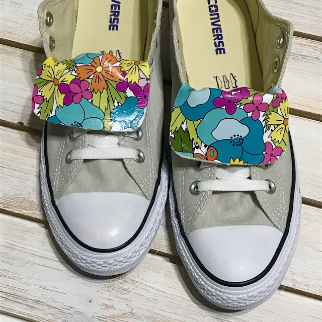 "Custom Printed Heat-Set Vinyl On Shoes, ""Pansy Parade"" Surface Pattern Design By Thistle Thicket Studio. www.thistlethicketstudio.com"