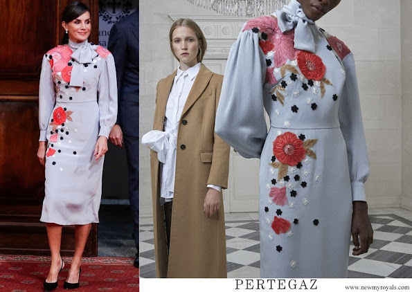 Queen Letizia wore PERTEGAZ floral embroidery dress Pret-à-porter FW19-20