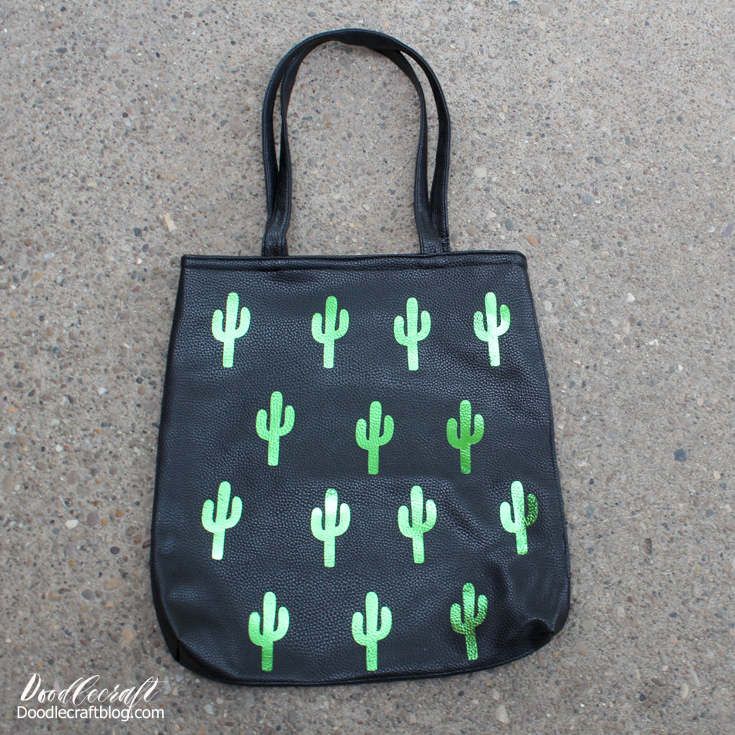 Cactus plants in polka dot pattern on faux leather tote bag made with Cricut Maker, Iron on vinyl and EasyPress!