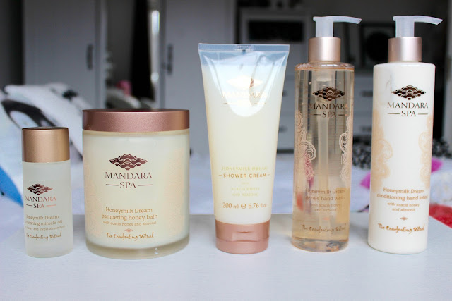 mandala spa, bath oil, honey milk, shower cream, hand wash, hand lotion