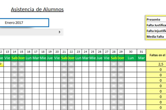 Registro de asistencia de alumnos en Excel gratis