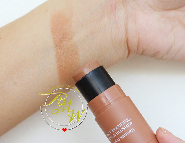 a swatch photo of missha soft blending stick blusher in mud brown