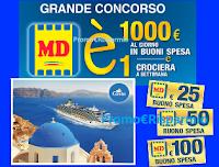 Logo Concorso ''MD E'' : vinci 620 buoni spesa da 25, 50 e 100€ e 5 favolose crociere!