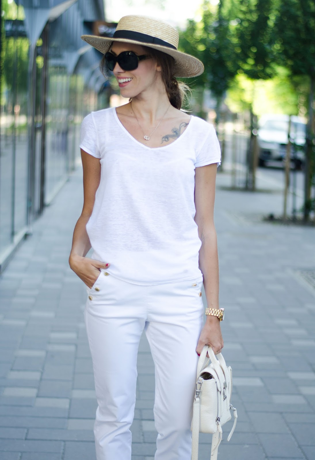 kristjaana mere white tee white pants straw hat outfit