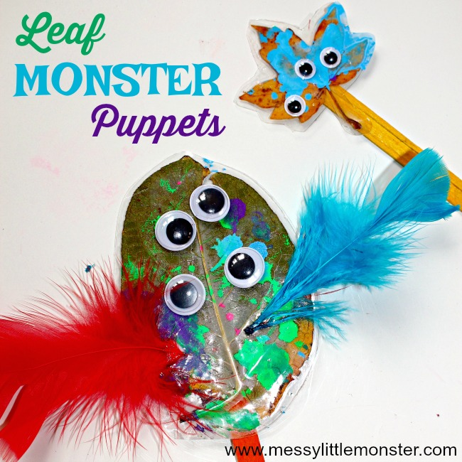 Monster leaf puppet craft for kids - Turn Autumn leaves into monster stick puppets. A fun activity for toddlers and preschoolers to do after reading 'Go Away Big Green Monster' by Ed Emberley.