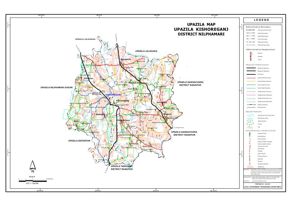 Kishoreganj Upazila Map Nilphamari District Bangladesh