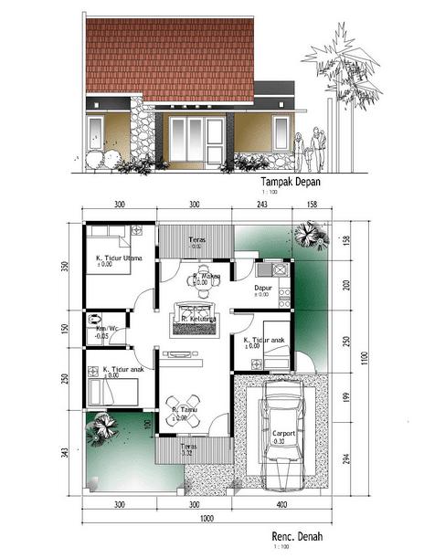denah rumah minimalis modern type 45 desain 2 lantai