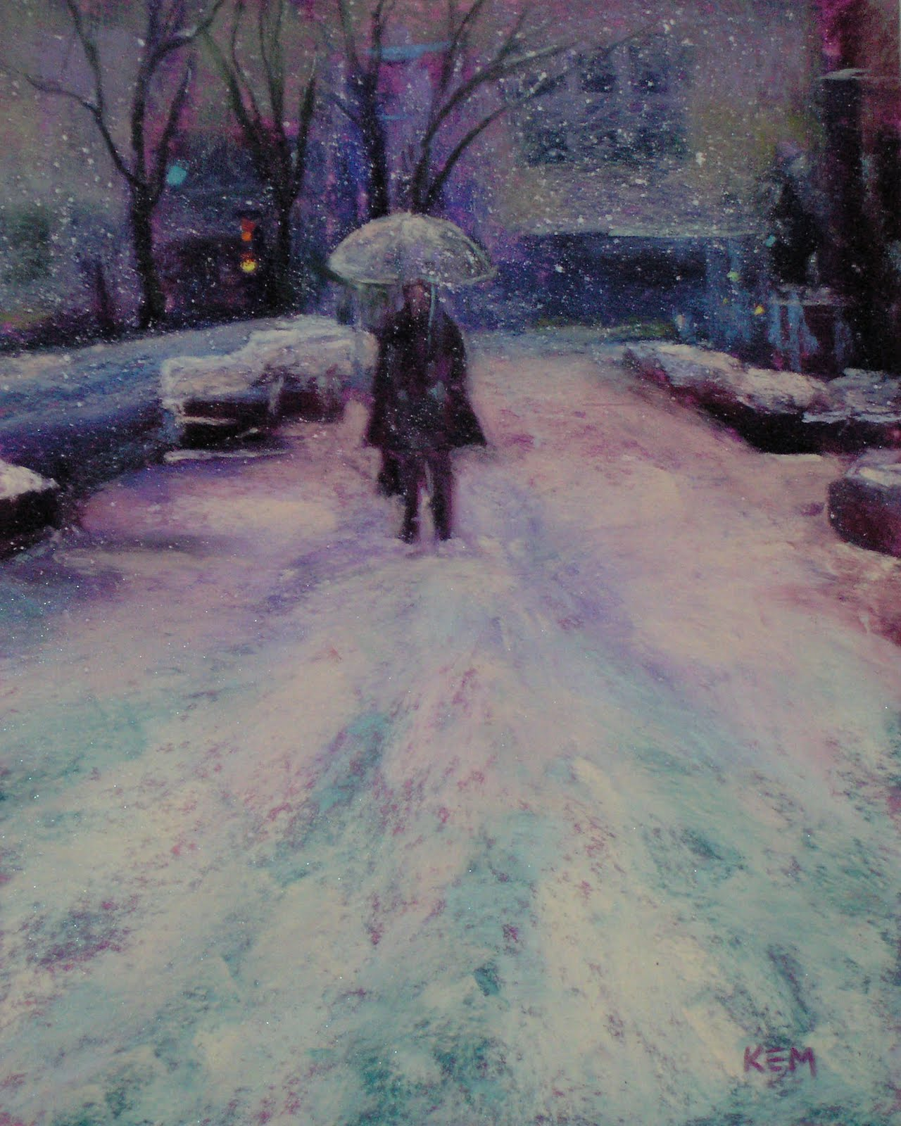 Winter In The City Painting Snowflakes Pastel