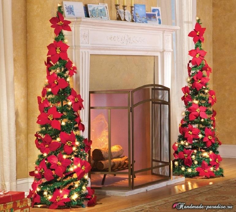 Пуансеттия в новогоднем и рождественском интерьере (5)