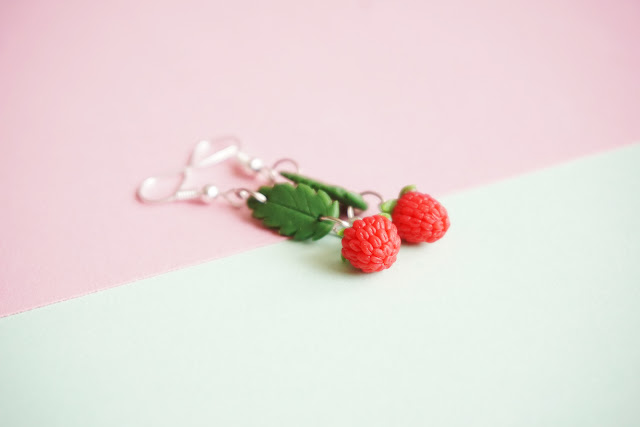 polymer clay raspberry earrings