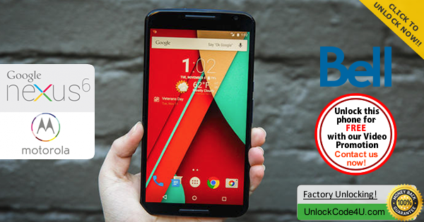 Factory Unlock Code Motorola Nexus 6 from Bell