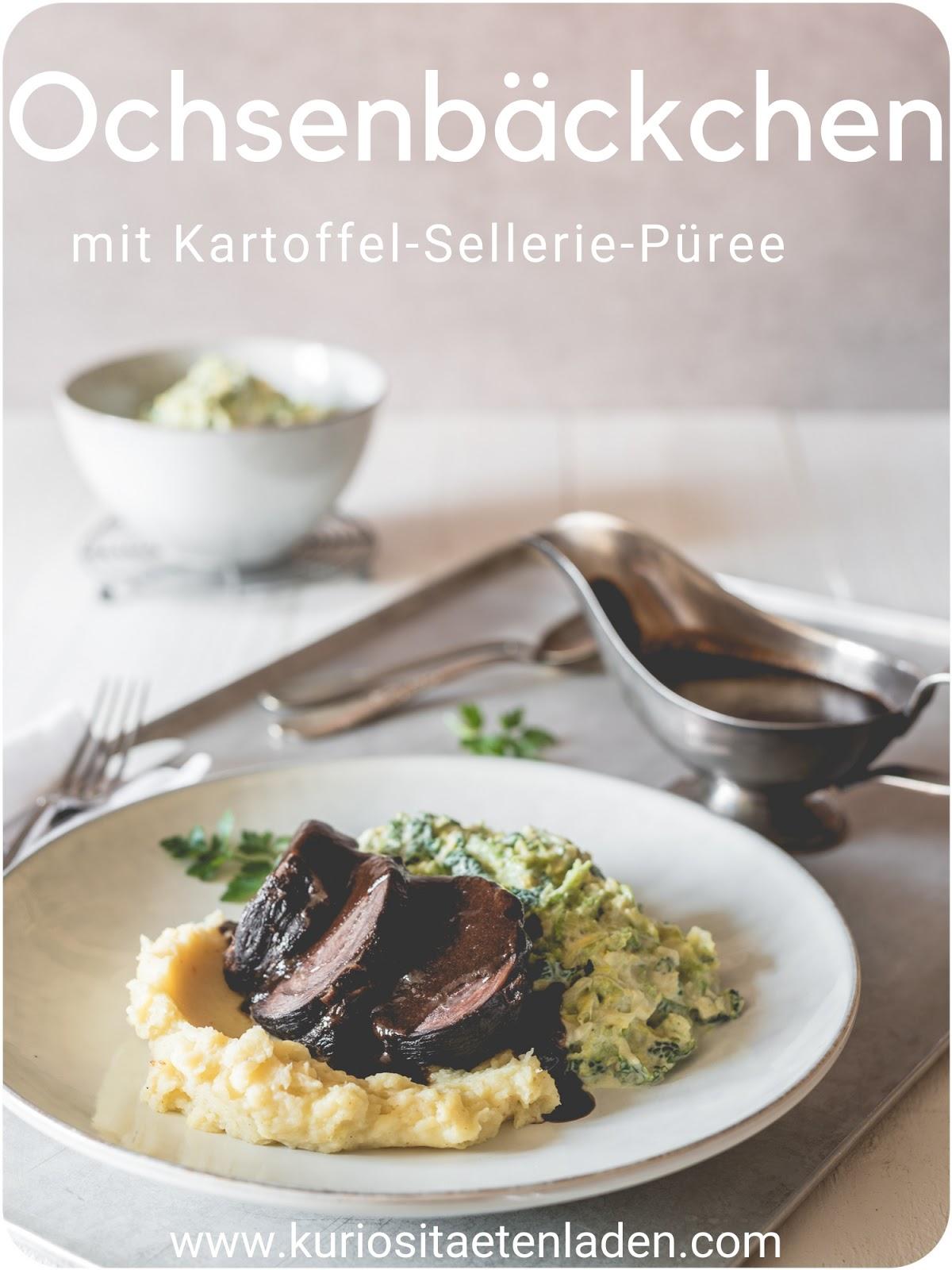 Geschmorte Ochsenbäckchen mit Kartoffel-Sellerie-Püree