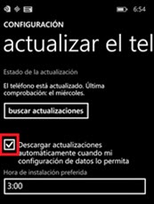Actualizaciones automáticas Windows Phone
