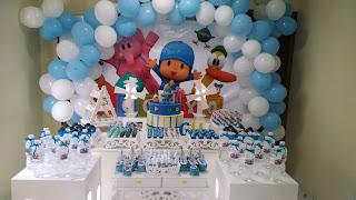 Festa do Pocoyo azul e branca