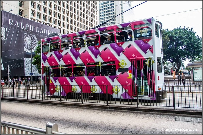 colorful Hong Kong trams