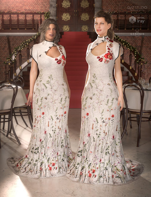 Polyantha Rose Dress for Genesis 8 Female