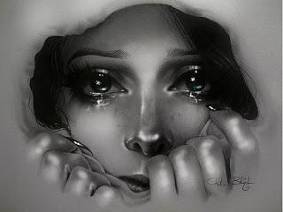 Retrato a lápiz de mujer llorando