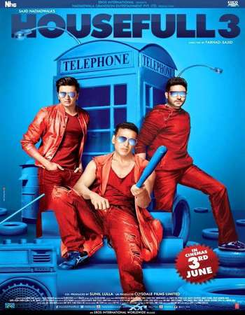 Poster Of Housefull 3 2016 Hindi 140MB DVDScr HEVC Mobile Watch Online Free Download Worldfree4u