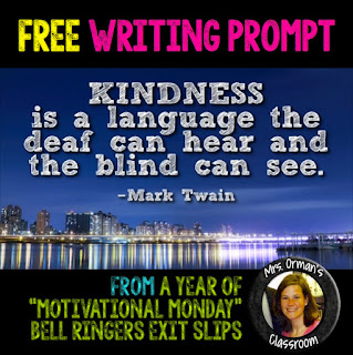 Free Kindness Quote Writing prompt #KindnessNation