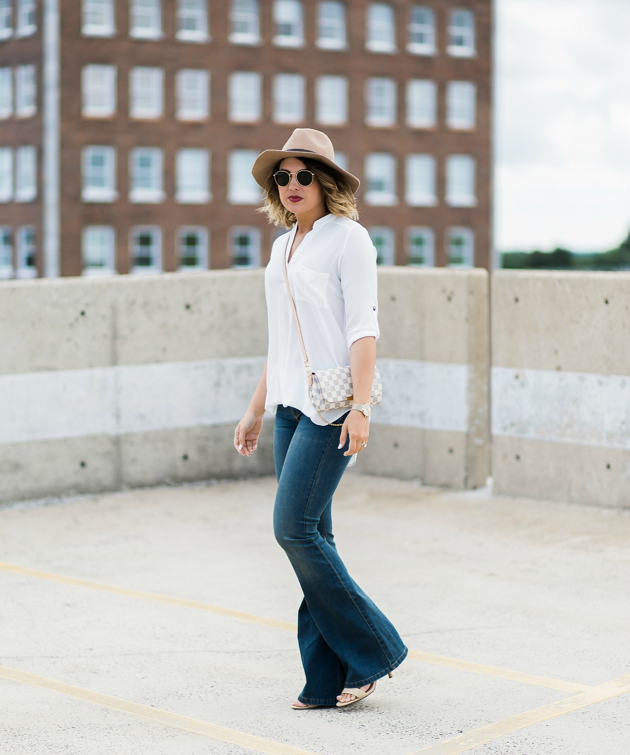 lush tunic, free people denim, rayban round sunglasses, wool hat