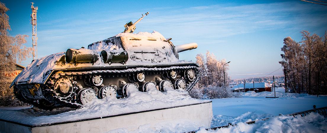 п. Октябрьский, Пермский край, танк, снег