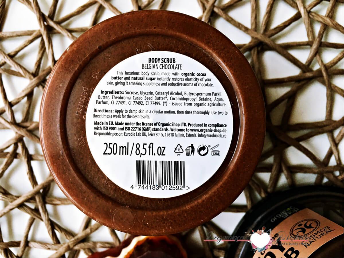 Peelingi cukrowe Organic Shop - Peeling cukrowy Belgijska czekolada | Peeling Cukrowy Brazylijska kawa