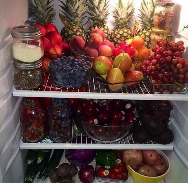 Fridge stocked with food