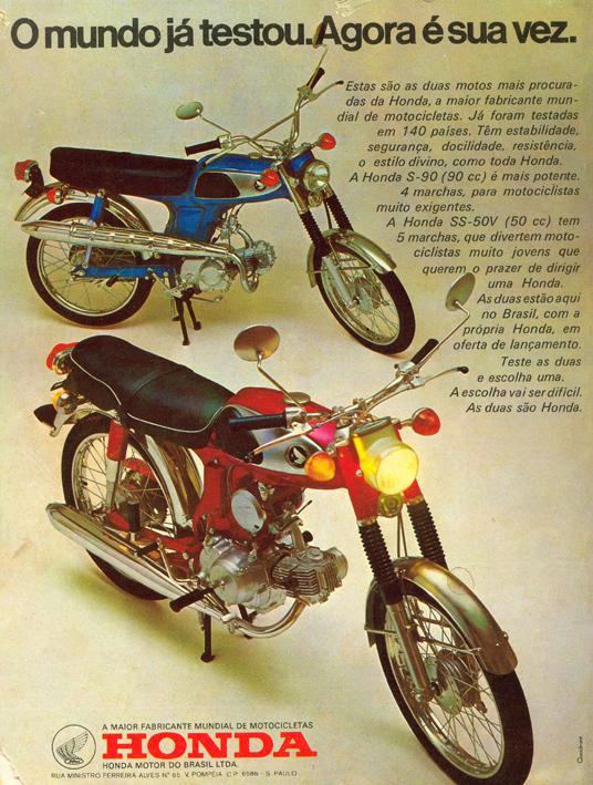 Propaganda do começo dos anos 70 das motos Honda nos modelos S-90 e SS-50