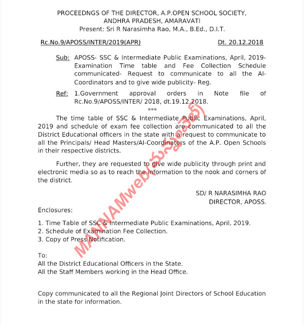 APOSS - Open school 10th and Intermediate April 2019 - Time table and Fee schedule and instructions....
