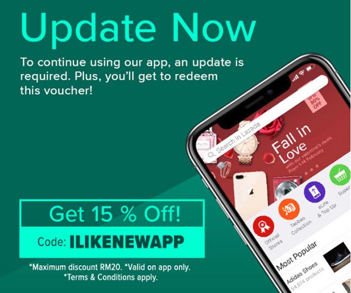 Kod Baucer Diskaun 15% Selepas Update Lazada App