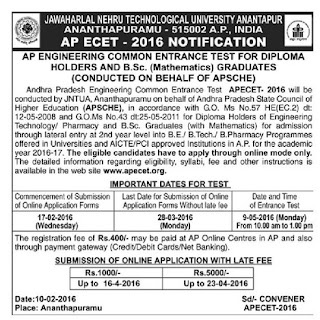 APECET-2016 Notification | AP Engineering Common Entrance Test for Diploma Holders and B.Sc ( Mathematics) Graduates | JNTU Ananthapur has Released ECET-2016 Notification on Behalf of AP Counsil for Higher Education | APSCHE and JNTU issued Notification for APECET-2016 in Andhra Pradesh http://www.paatashaala.in/2016/02/apecet-2016-notification-jntu-apsche.html