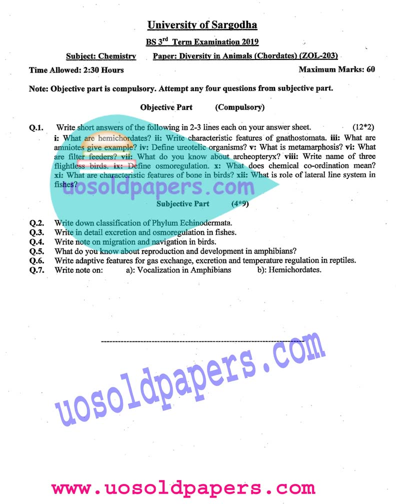 ZOL-203: Diversity of Animal Chordates, BS Chemistry, Term System Exam