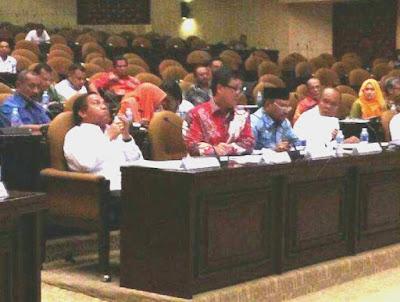 Wagub Sulut, Steven Kandouw (kemeja warrna merah,red) saat memaparkan masalah listrik di Sulut kepada DPRRI,