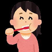 歯を磨���る女性�イラスト