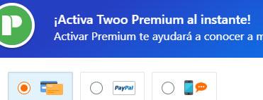 Obtener Twoo Premium Opciones de pago