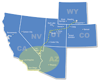 Under the TransWest Express LLC proposal, energy would be delivered from south-central Wyoming to California, with a hub in Nevada and a potential future terminal near Delta, Utah.  (Image Creit:  TransWest Express) Click to Enlarge.