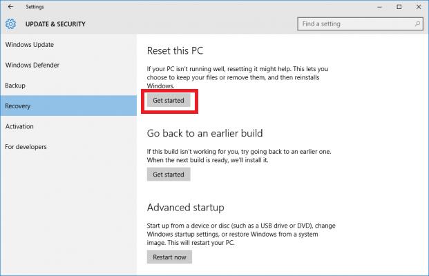 How to reset window 10 PC ?