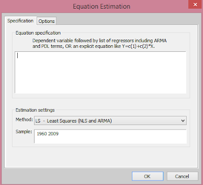EViews: Equation Estimation dialogue box from cruncheconometrix.com.ng
